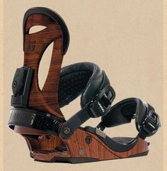 Wood-grain snowboard bindings- LOVE!