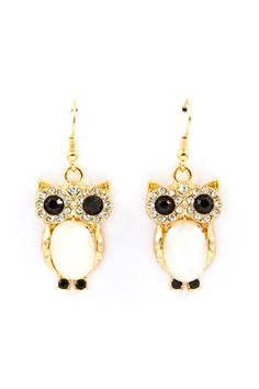 Snow Owl Crystal Earrings