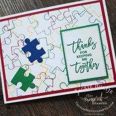 Call me clover and the stitched rectangles make for a clean and simple card. Using Love You To Pieces set Scrapbooking Layouts, Scrapbook Cards, Graffiti Lettering Fonts, Love You To Pieces, Homemade Cards, Homemade Toys, Get Well Cards, Puzzle Pieces, Anniversary Cards