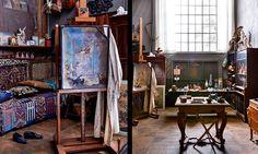 Perseus befriar Andromeda gjordes som plafond åt Hallwylska palatset 1918. Bredvid konstnärens skor och målarrock. Till höger den fullt utrustade arbetsateljén med ett avlastningsbord i mitten. Skor, Dream Art, Artists, Spaces, Studio, Creative, Studios, Artist