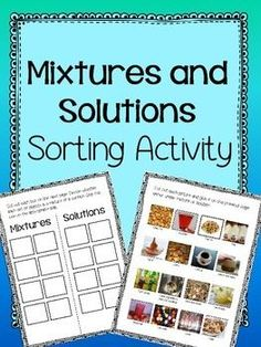 Students will cut and paste pictures of mixtures and solutions and glue them them in appropriate spots. The photos are provided in both color and black and white. A key is provided for each picture.