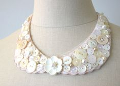 Peter Pan Collar Necklace, Pearl Vintage Button Collar, Vintage Collar. $56.00, via Etsy.