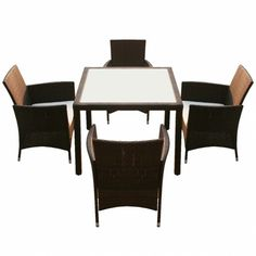 Outdoor Dining Table And 4 Chairs Set Garden Furniture Rattan Patio Seat Cushion