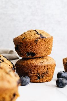 The most delicious oatmeal blueberry muffins! Made with fresh blueberries, hearty oat flour, and are perfect for a grab-n-go breakfast or wholesome dessert. You'll love these healthy muffins for any occasion!   asimplepalate.com #muffins #blueberry #oatmeal #breakfast Oat Flour Recipes, Oats Recipes, Muffin Recipes, Baking Recipes, Free Recipes, Recipies, Healthy Recipes, Blueberry Oatmeal Muffins, Blueberry Topping