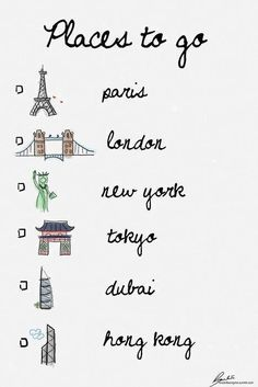 Travel bucket list. Not New York though, I know it much too well, love it, but I am from there so no.