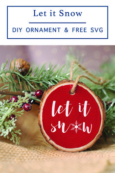 Download this free farmhouse style SVG file from Everyday Party Magazine and create adorable holiday gifts and decor #CutFilesFor Cricut #FreeSVG #LetItSnow #FarmHouseStyle