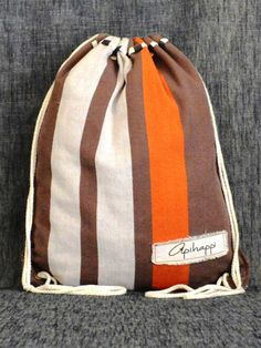 A unique handloom, Stringy bag from Sri Lanka - in off white, brown and orange - The Groundhog