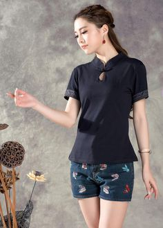 Chinese Style T Shirt Women 2015 Summer Casual Slim Camisetas Solid Cotton Brand Tshirt Vetement Femme Ropa Mujer Plus Size 3XL-in T-Shirts from Women's Clothing & Accessories on Aliexpress.com | Alibaba Group