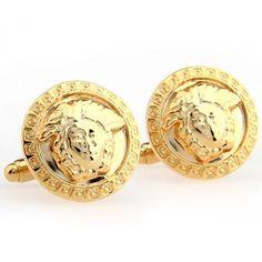 Gold Circle Business Mens Cufflinks