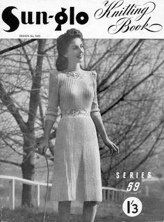 Vintage 1940s Knitting Pattern Downloadable PDF by KimmiDesign, $3.50