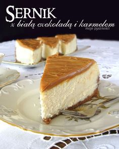 80 Cheesecake with white chocolate and caramel Cake & Co, My Dessert, Polish Recipes, Recipe For Mom, Cheesecakes, No Bake Cake, Caramel, Sweet Tooth, Food And Drink