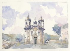 Watercolor sketch by Victor Beltran.  Ouro Preto Baroque Church.