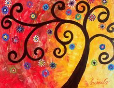 Whimsical Tree of Life Painting perfect nursery art for boy, girl room. gift ideas, mother, sister, friend, healing, hope, love, design
