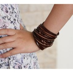 Genuine leather wrap bracelet with strands, partial braid, and studs. | True Heart Style