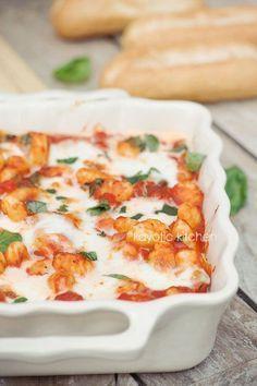 Gnocchi & Tomato Bake. Gnocchi, onion, red bell peppers, garlic, 1 x chopped tomatoes, dried oregano, fresh basil, mozzarella.