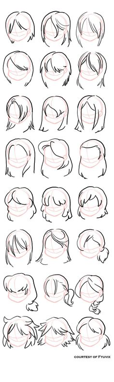 Some sketches of possibilities for straight hair. I didn't want to do a lot of ponytails, pigtails, buns, etc, so its mostly straight, shoulderlength, worn down. Free reference, woot! though I'd appreciate if you'd link back to me if you find this helpful