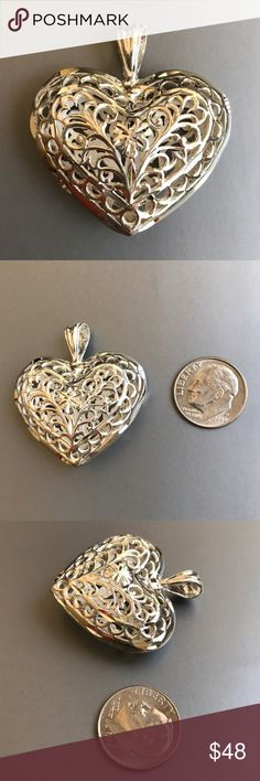 Sterling Silver Puffy Heart Cage Pendant Charm New Brand new. 925 Sterling Silver Filigree Puffy Heart Cage Pendant Charm. Metal: 925 Sterling Silver. Weight: 9.17 grams. All sales are final. Jewelry Necklaces