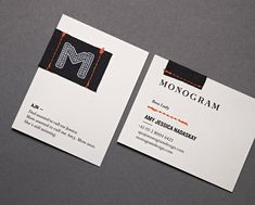 sewing on your business card- Monogram