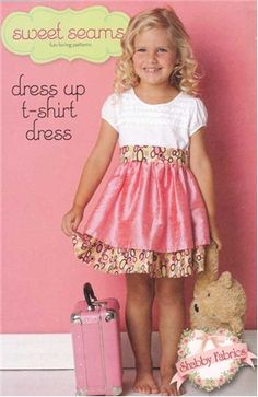 Dress Up T-Shirt Dress: Start with a purchased t-shirt, add a skirt, and you have a quick and easy dress!  Pattern includes all instructions for girls sizes 2T-6X.