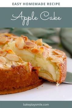 Dessert Recipes 53576 A moist and EASY APPLE CAKE recipe made from a classic butter cake base, layered with apple slices and topped with flaked almonds. Easy Apple Cake, Moist Apple Cake, Apple Recipes Easy, Easy Homemade Recipes, Apple Cake Recipes, Easy Cake Recipes, Sweet Recipes, Baking Recipes, Apple Cakes