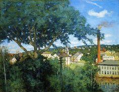 """""""Le Village d usine"""", huile sur toile de Julian Alden Weir (1852-1919, United States)"""