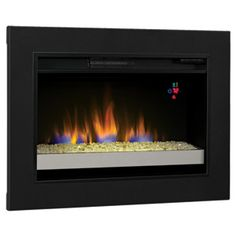 "ClassicFlame 26"" Electric Fireplace Insert with Glass Embers & Flush-Mount Conversion Kit"