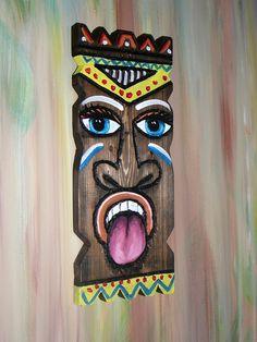 Items similar to TIKi Mask wooden wall decor on Etsy Palm Frond Art, Palm Fronds, Tiki Faces, Tiki Tattoo, Tiki Bar Decor, Tiki Totem, Cardboard Box Crafts, Tiki Mask, Wooden Wall Decor