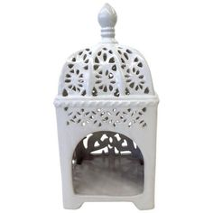Marrakesh-Style White Ceramic Candleholder ($58) ❤ liked on Polyvore featuring home, home decor, candles & candleholders, candle holders, candle-stick, white candlestick holders, white ceramic candle holder, ceramic candle and ceramic candle holders