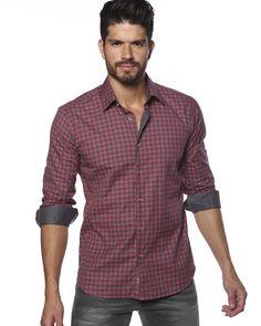 Dark red plaid shirt for men