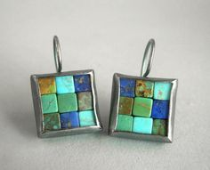 Mosaic Earrings Lapis Lazuli Turquoise & Silver