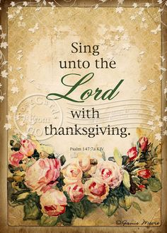 Sing Unto The Lord / Scripture / Art  5x7 Inch by PostcardsFromGod