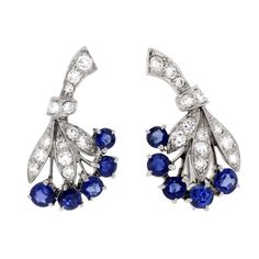 TIFFANY & CO.. Sapphire and Diamond Earrings