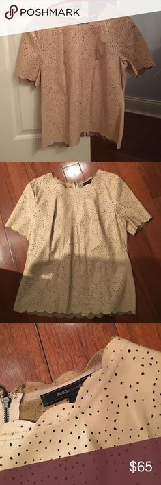 BCBG Tan leather top Stunning BCBG leather like top never worn great fit has a little stretch great for evening  and day wear! BCBGMaxAzria Tops Blouses