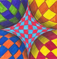 "Materials: - Rulers - Pencil - Markers/ Colored Pencils - 12"" x 12"" Drawing Paper Club D'art, Art Club, Op Art Lessons, Art Lessons Elementary, Programme D'art, Opt Art, Classe D'art, Art Du Croquis, Middle School Art Projects"