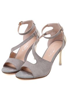 Vogue hollow-out metal covering slim high heel sandals YS-C5636