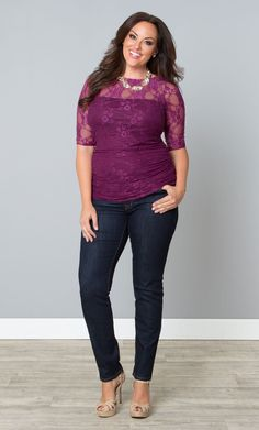 1418b42db8753 Take your jeans to the next level with our plus size Smitten Lace Top. www