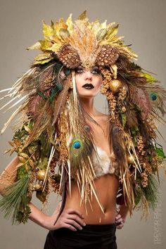 MADE TO ORDER Mother Nature Headdress Headpeice show girl wig