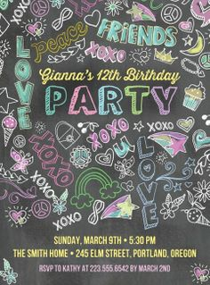 adorable birthday party invite perfect for the girl who is growing up quickly, but still a child.