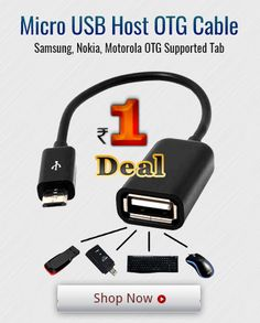 Grab the 1 Rupee #deal,Get Micro USB OTG Cable for #Samsung #Nokia #Motorola Supported   #deal