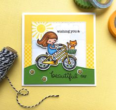 The Queen's Scene: Lawn Fawn Bicycle Built For You Wishing you a Beautiful Day Card - (CTD436)