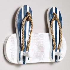 Flip Flops Double Hook at Cost Plus World Market >> Seaside… Sea Crafts, Wood Crafts, Coastal Style, Coastal Decor, Flip Flop Craft, Beach Theme Bathroom, Dream Beach Houses, Beach House Decor, Home Decor