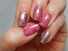 Skittle with Incoco Hello Sweetheart, Love Story, and stamped with Bunny Nails BuNa-A