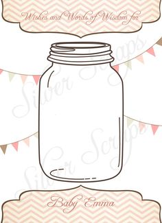 Vintage Mason Jar Custom Well Wishes and Advice Card for Baby, Wedding, Bridal or Couple's Shower, Engagement Party - Pink Brown Bunting