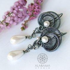 Perłowe meduzy - srebrne kolczyki wire-wrapping z perłami seashell / Alabama / Biżuteria / Kolczyki