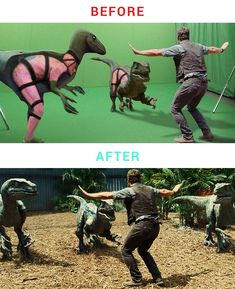 30 Behind the Scenes of Iconic Special Effects Shots - bemethis Jurassic World, Movie Special Effects, Por Tras Das Cameras, Foto Picture, Computer Generated Imagery, Funny Jokes, Hilarious, Funny Shit, Movie Shots