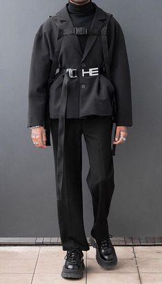 Minimal black outfit menswear minimal fashion looks men в 20 All Black Fashion, Fashion Looks, Ulzzang Fashion, Korean Fashion, Grunge Outfits, Fashion Outfits, Turtleneck Style, Inspiration Mode, Mode Vintage