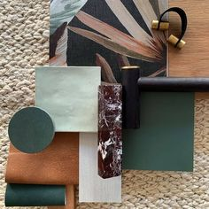 "Textiles.Leathers.WallFinishes on Instagram: ""Tropical, elegant, summer vibes. This perfect palette by @thedesignory for the Barefoot Bay Villa hosts our Highland Rowan pull-up leather,…"""