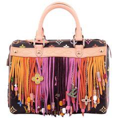 Pre-Owned Louis Vuitton Speedy Handbag Limited Edition Multicolor... ($2,360) ❤ liked on Polyvore featuring bags, handbags, orange, monogrammed purses, fringe purse, suede fringe handbags, colorful purses and kiss-lock handbags