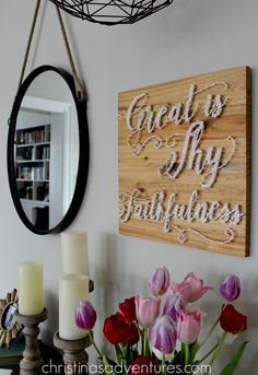 Beautiful rustic farmhouse script string art - Great is Thy Faithfulness by Blossoms & Knots on Etsy