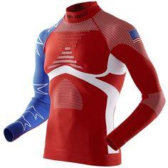 X-bionic Men Patriot Energy Accumulator Ski Shirt ($175) ❤ liked on Polyvore featuring men's fashion, men's clothing, men's shirts and usa